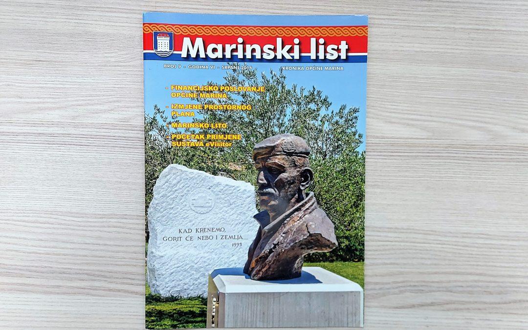 Marinski list – kronika Općine Marina, broj 9