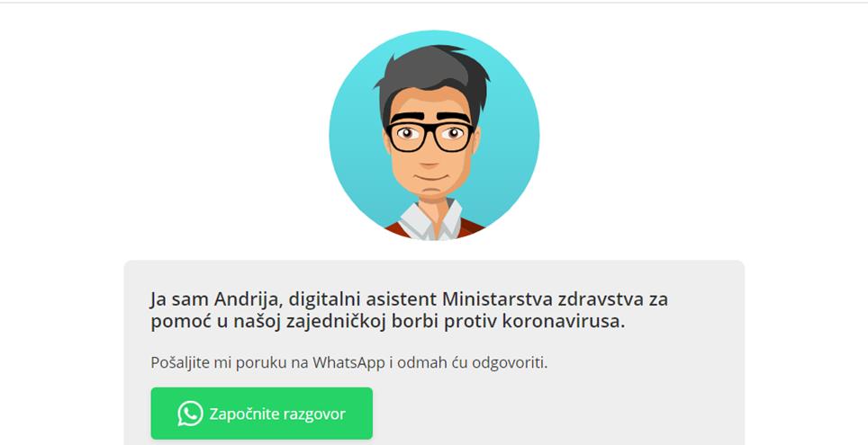 Predstavljen Andrija – prvi digitalni asistent u borbi protiv koronavirusa u Hrvatskoj na WhatsAppu